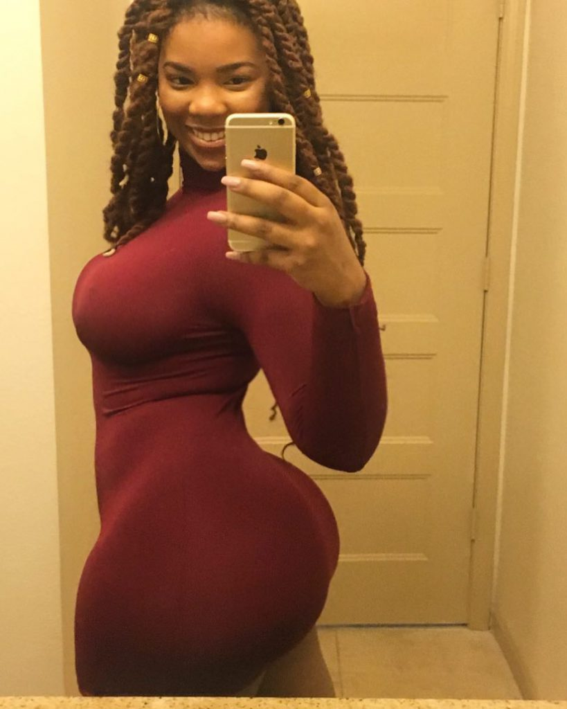 Thick ebony booty in red dress